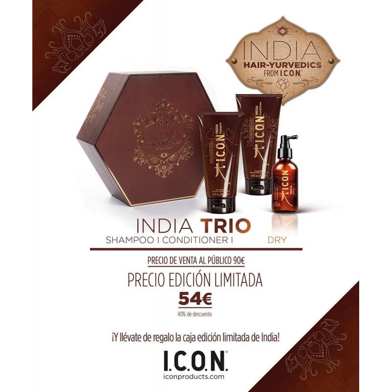 ICON PACK India Trio: Champú, Acondicionador y Dry
